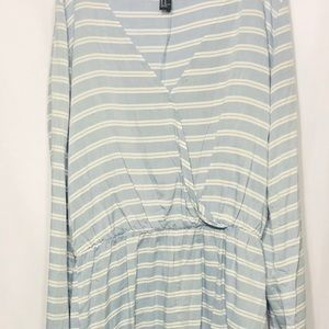 Baby blue and white stripped romper